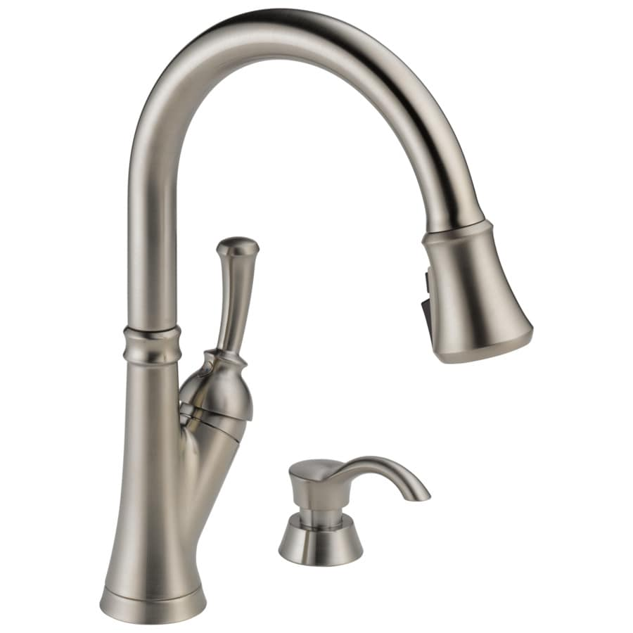 delta savile stainless 1 handle deck mount pull down handle kitchen faucet deck plate included
