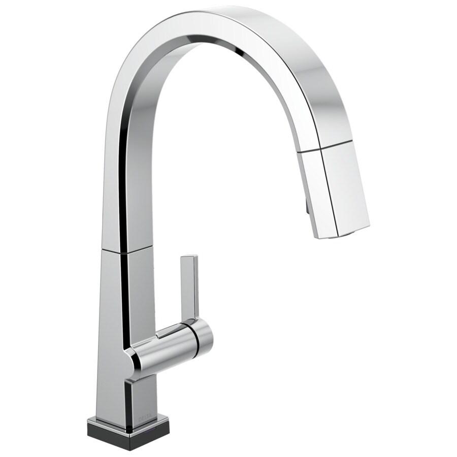 delta pivotal touch2o chrome 1 handle deck mount pull down handle kitchen faucet