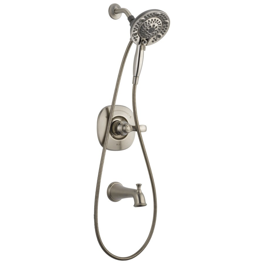 delta nura stainless 1 handle bathtub and shower faucet with valve lowes com