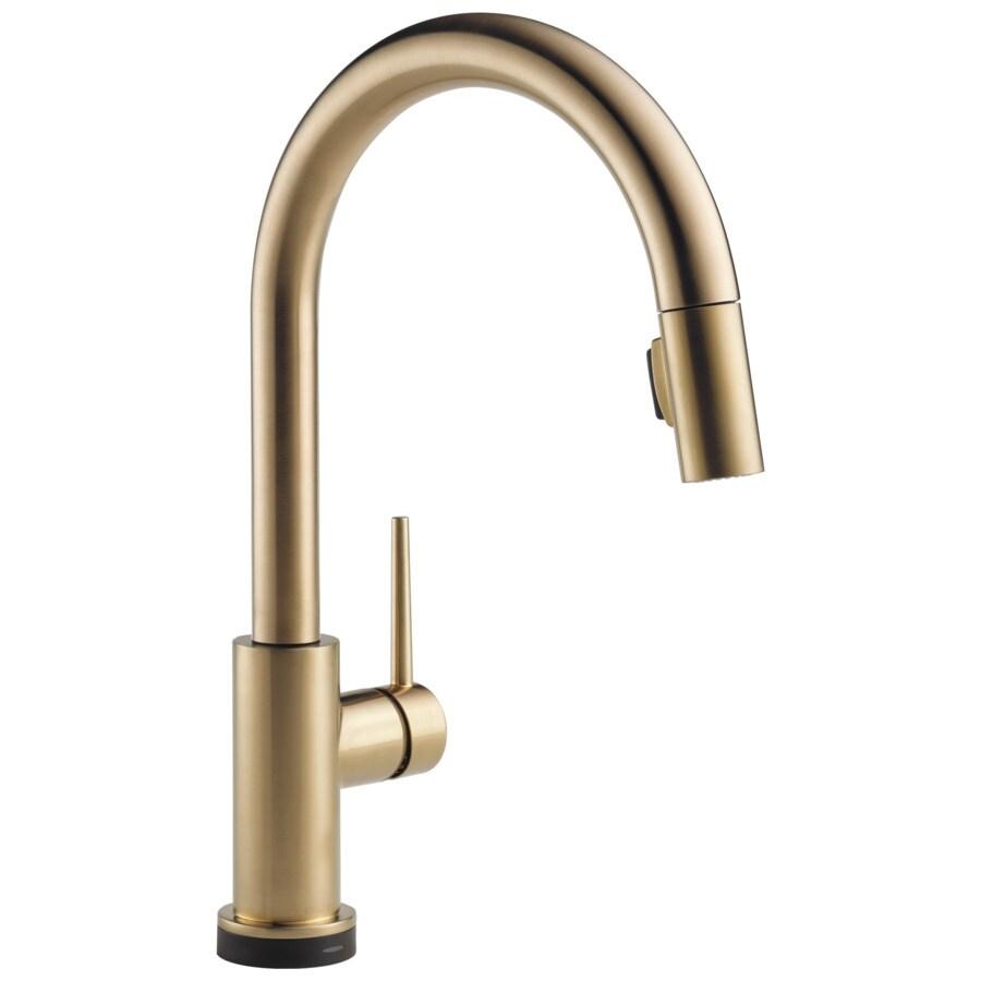 delta trinsic voiceiq champagne bronze 1 handle deck mount pull down touchless kitchen faucet