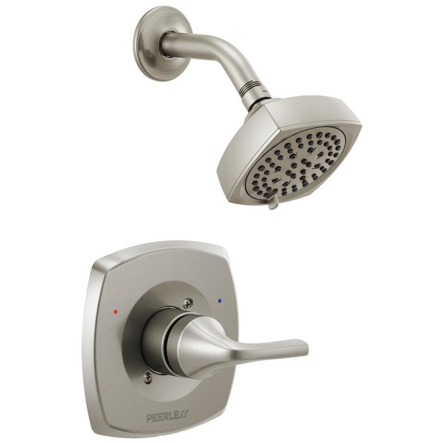 peerless parkwood brushed nickel 1 handle shower faucet in the shower faucets department at lowes com
