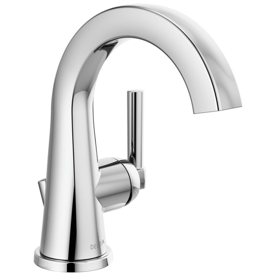 delta becker chrome 1 handle single hole 4 in centerset watersense bathroom sink faucet with drain and deck plate