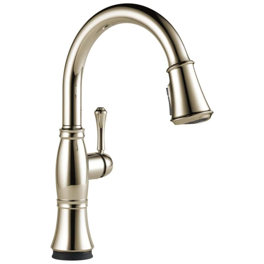 delta cassidy touch2o lumicoat polished nickel 1 handle deck mount pull down touch kitchen faucet