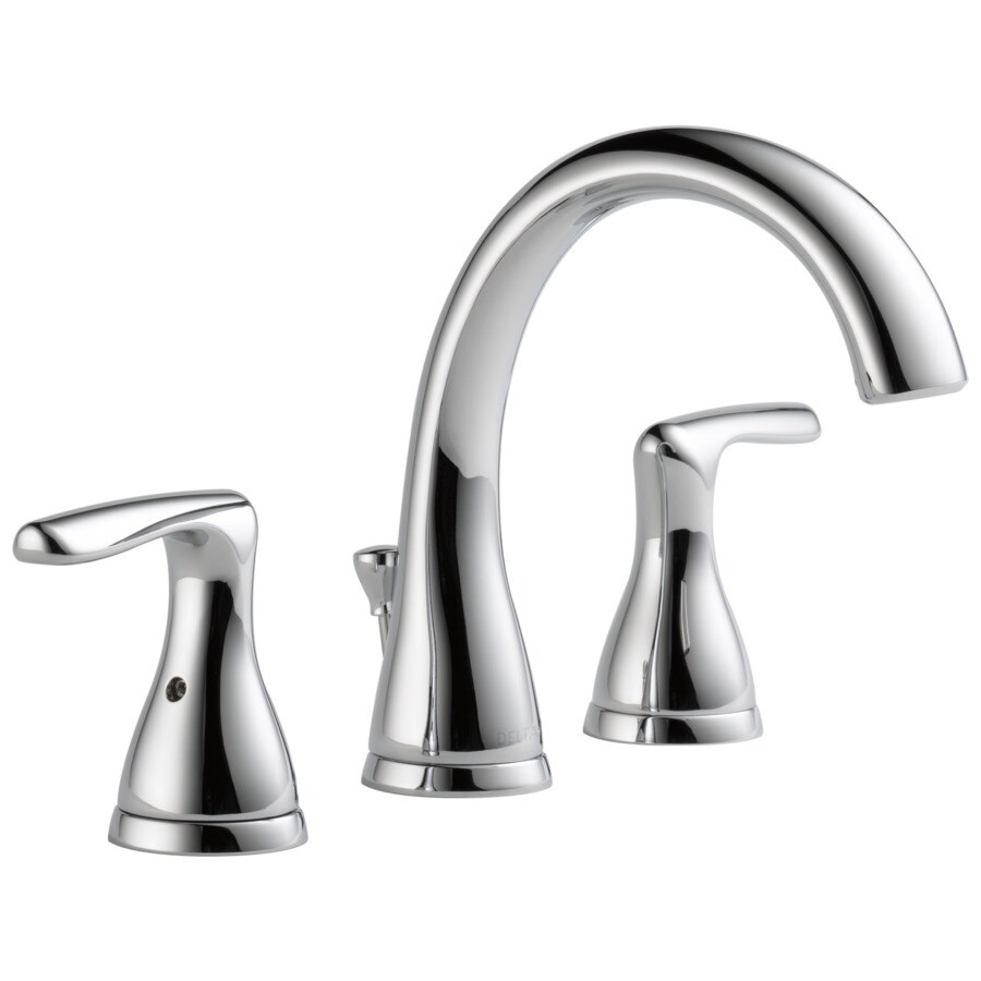 delta foundations chrome 2 handle widespread watersense bathroom sink faucet with drain