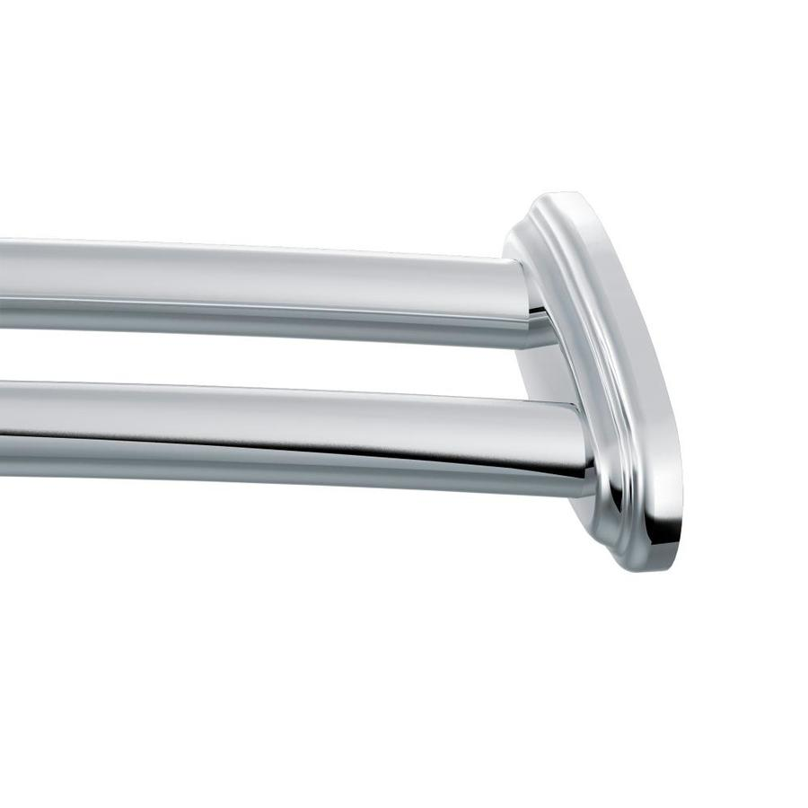 moen shower rod 60 in chrome curved adjustable double shower curtain rod