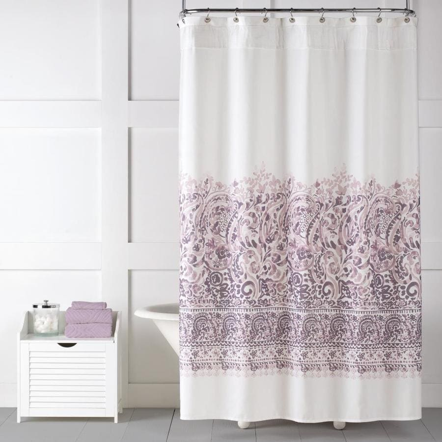 saturday knight limited 70 in polyester purple patterneded shower curtain lowes com