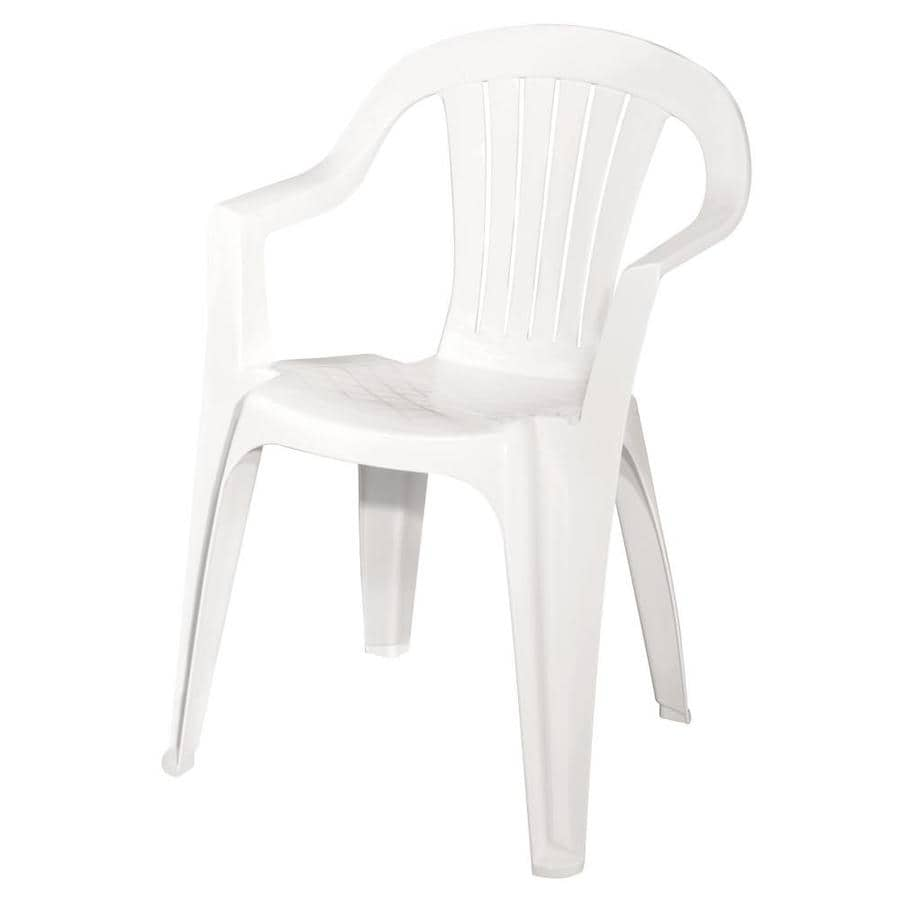 adams mfg corp white resin stackable patio dining chair in the patio chairs department at lowes com