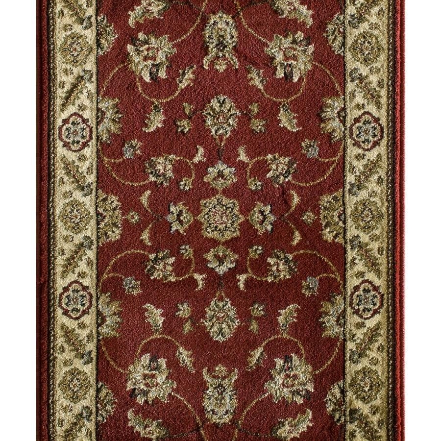 Natco Canyon 26 In W Cut To Length Red Woven Olefin Polypropylene | Hallway Carpet Runners Sold By The Foot | Rug Depot | Hall | Woven Rug | Wool Rug | Fleur De Lis