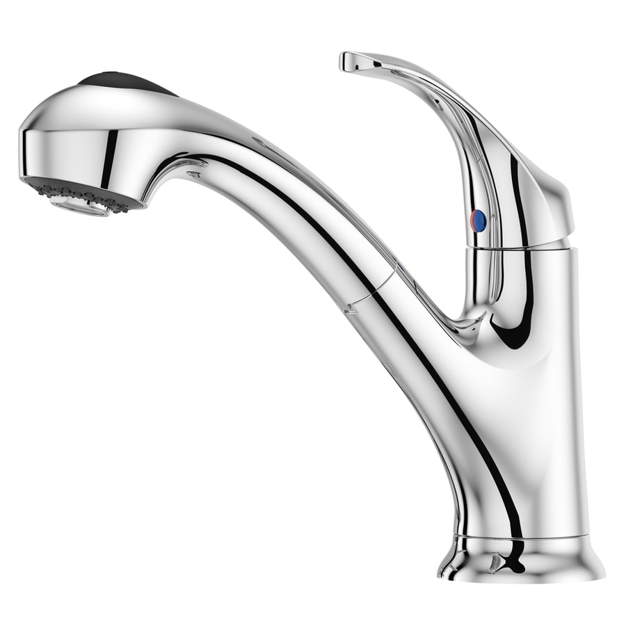 pfister shelton polished chrome 1 handle deck mount pull out handle kitchen faucet deck plate included
