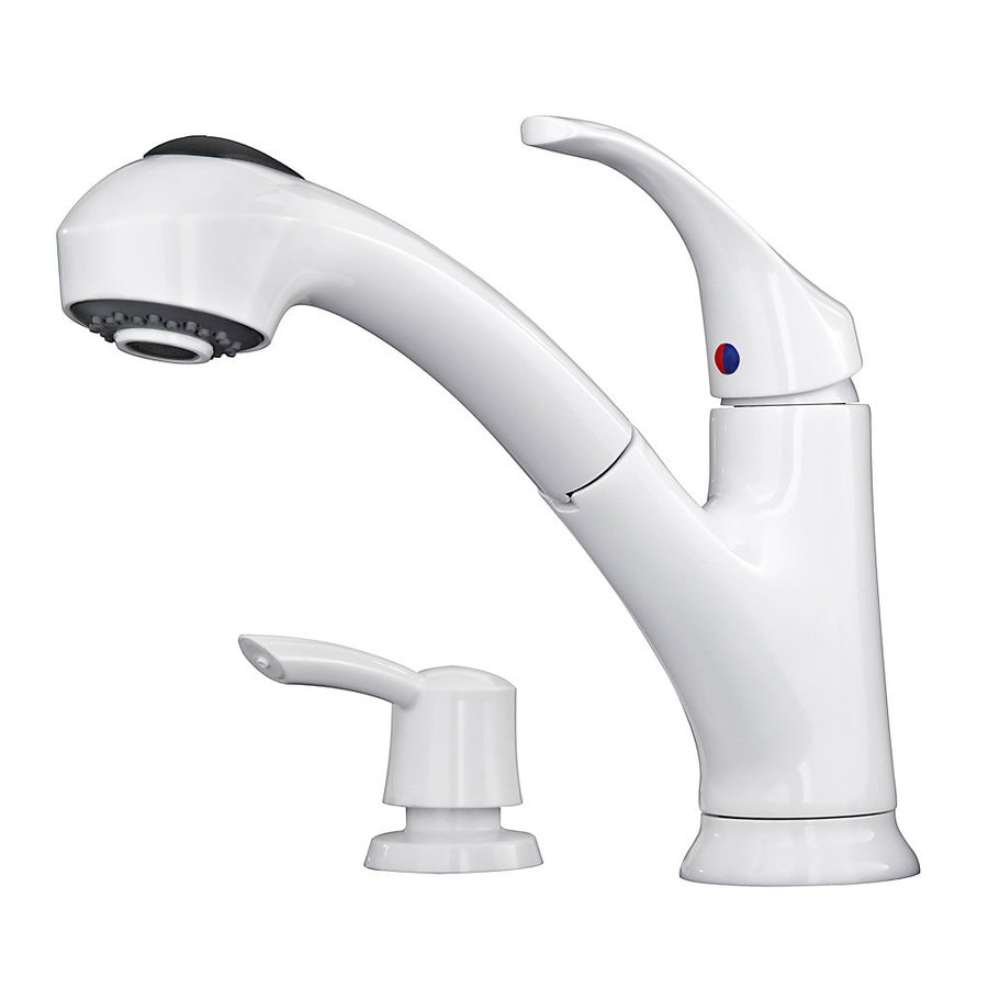 pfister shelton white 1 handle deck mount pull out handle kitchen faucet deck plate included