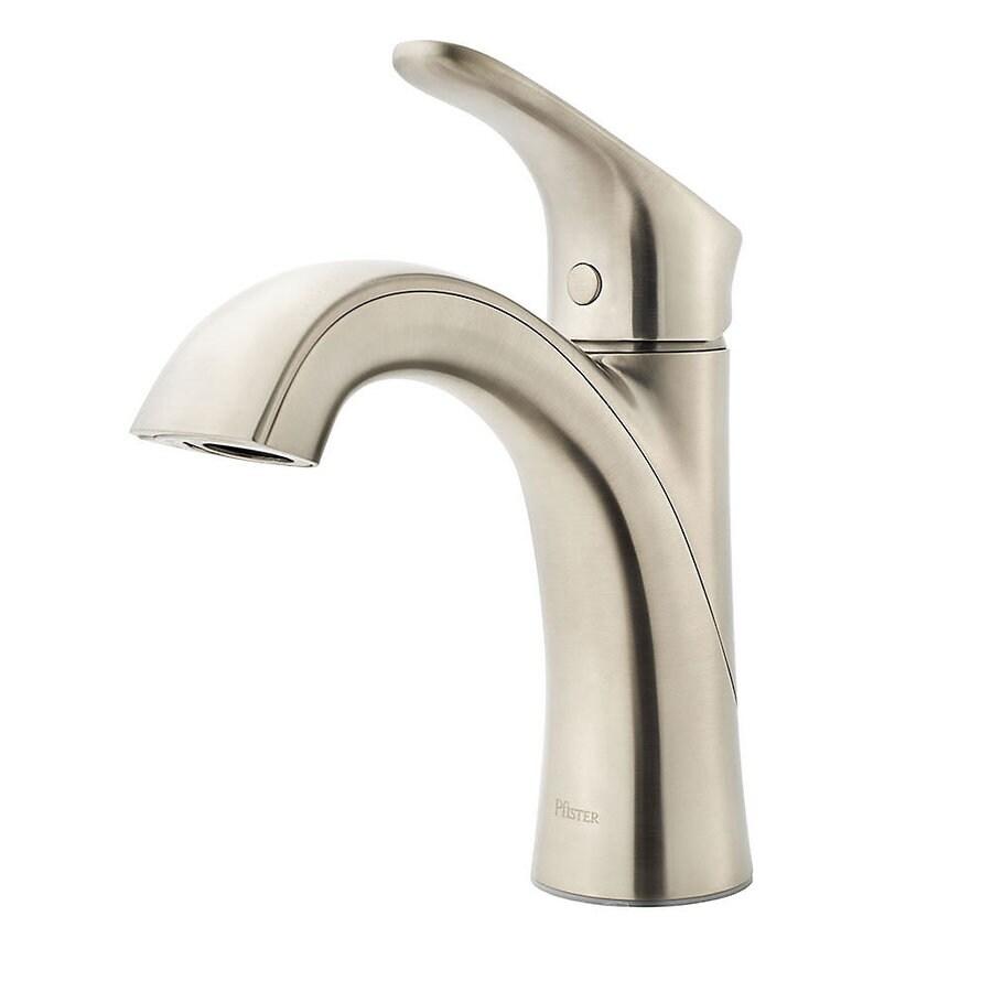 pfister weller brushed nickel 1 handle single hole watersense bathroom sink faucet with drain