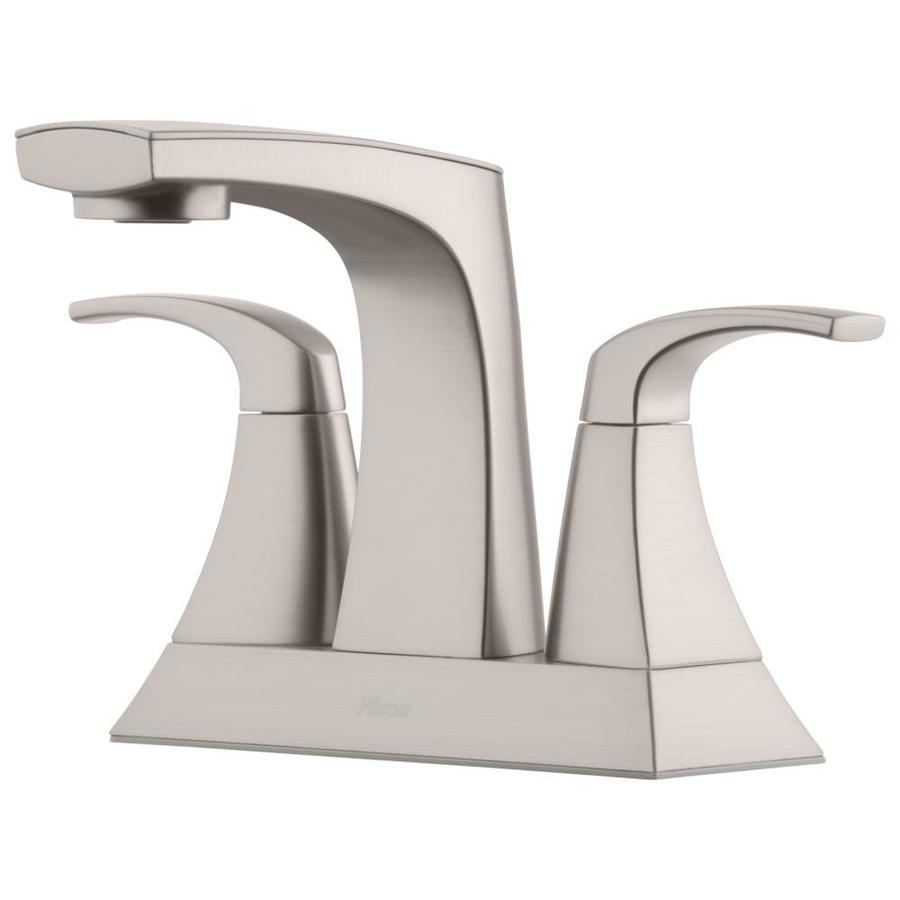 pfister karci spot defense brushed nickel 2 handle 4 in centerset watersense bathroom sink faucet with drain and deck plate