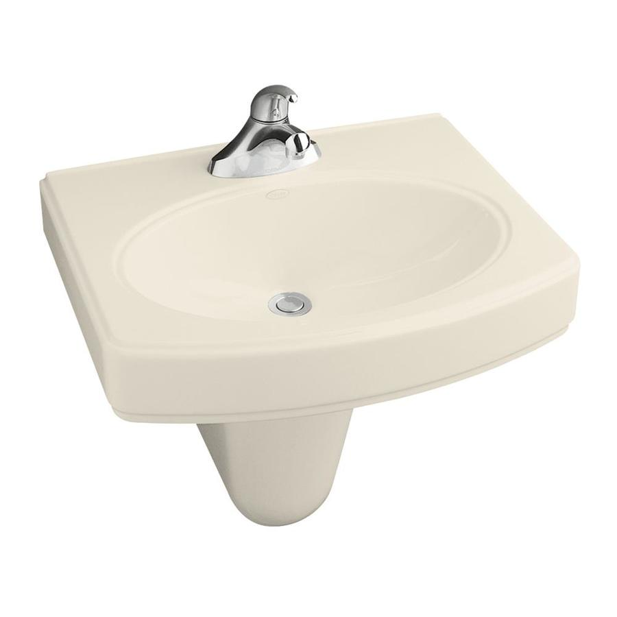 kohler pinoir 34 in h almond vitreous china pedestal sink in the pedestal sinks department at lowes com