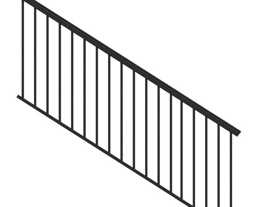 Freedom Versarail Stair Black Aluminum Deck Stair Rail Kit With | Outside Stair Railing Lowes | Wood | Composite Decking | Outdoor Living | Handrail Kit | Stair Parts
