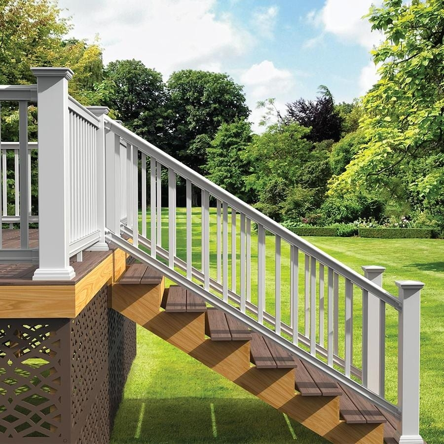 Freedom Prescot Stair White Composite Deck Stair Rail Kit With   Vinyl Stair Railing Lowes   Porch   Baluster   Concrete   Wrought Iron   Wood