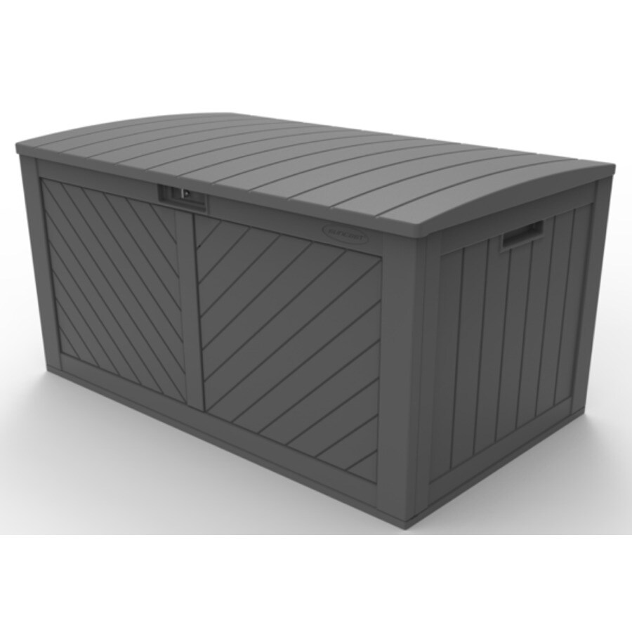 suncast 29 750 in l x 49 250 in 134 gallon peppercorn plastic deck box lowes com
