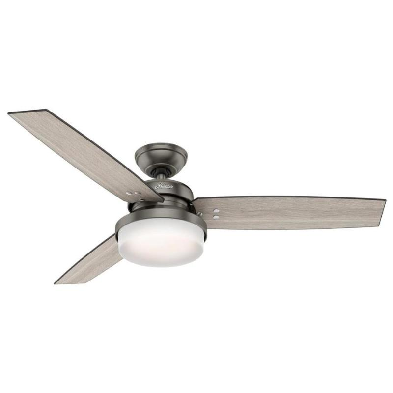 Hunter Sentinel 52 In Brushed Slate Downrod Or Close Mount Indoor Ceiling Fan With Light