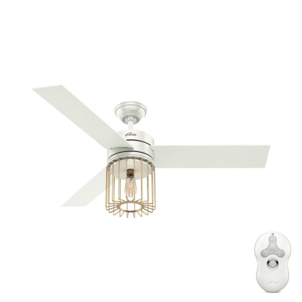 Shop Hunter Ronan LED Edison 52 in Fresh White and Modern Brass     Hunter Ronan LED Edison 52 in Fresh White and Modern Brass Indoor Ceiling  Fan with