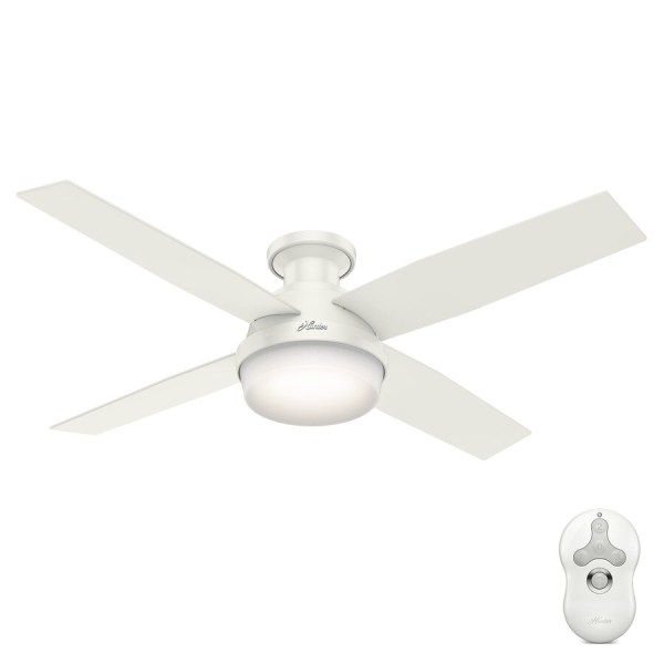 Shop Hunter Dempsey 52 in Fresh White Indoor Flush Mount Ceiling Fan     Hunter Dempsey 52 in Fresh White Indoor Flush Mount Ceiling Fan with Light  Kit and