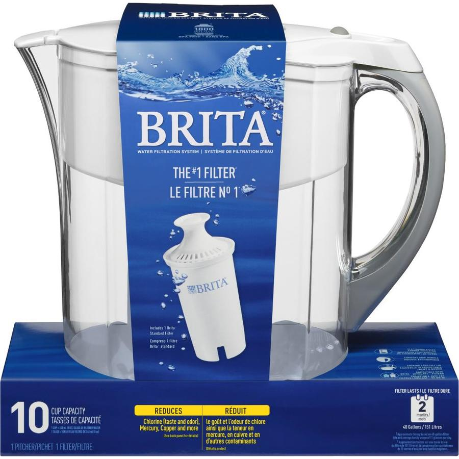 brita grand 10 cup white water filter pitcher