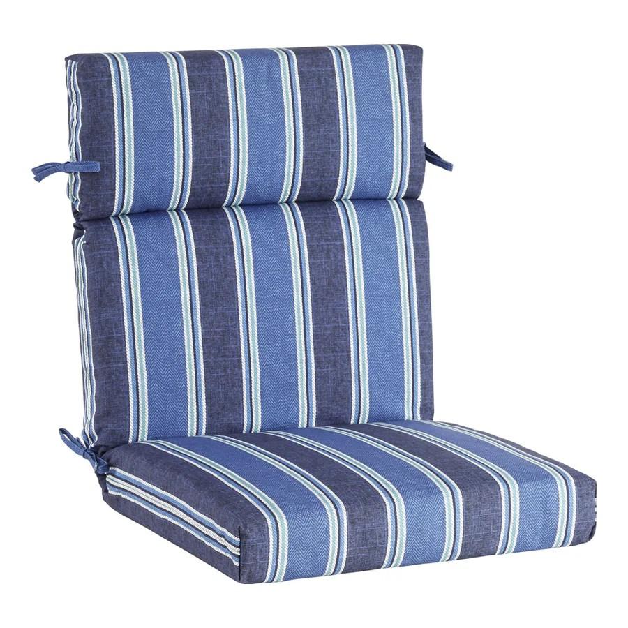 allen roth blue coach stripe high back patio chair cushion