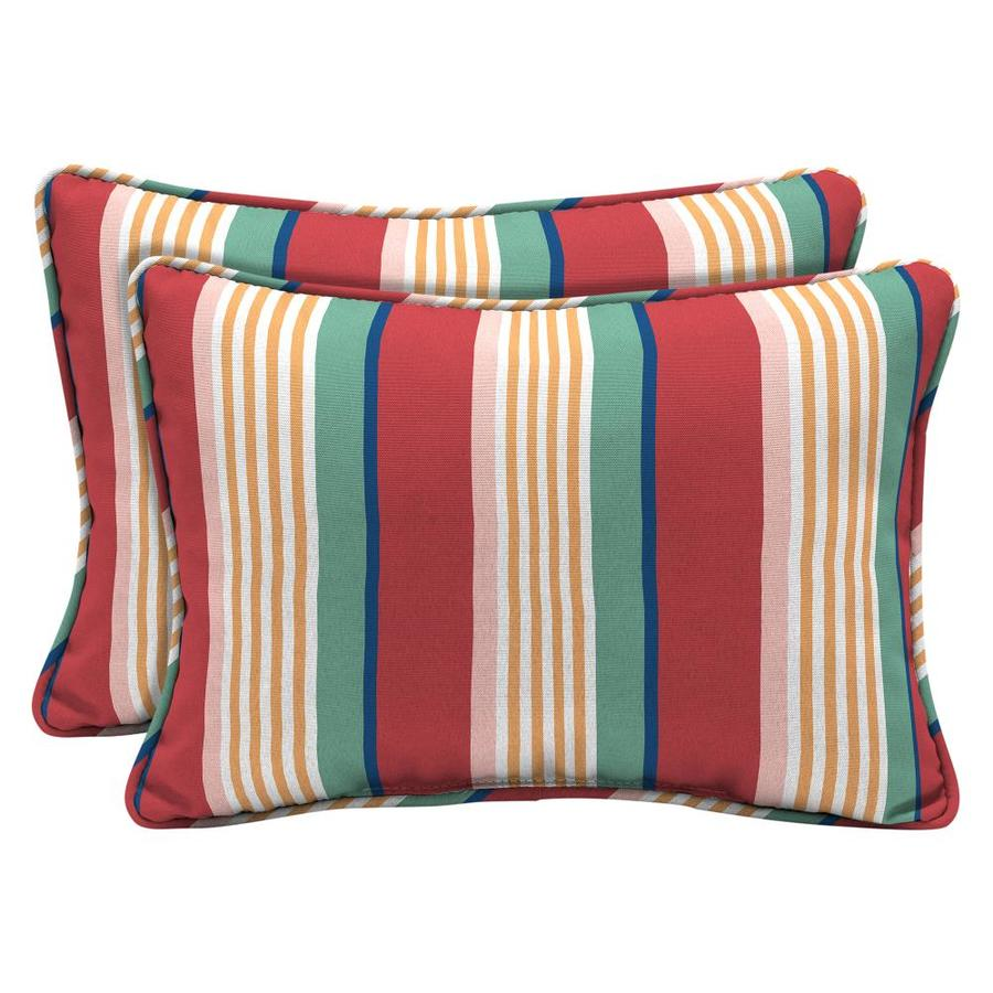 arden selections 2 pack striped red yellow green pink and blue rectangular lumbar pillow