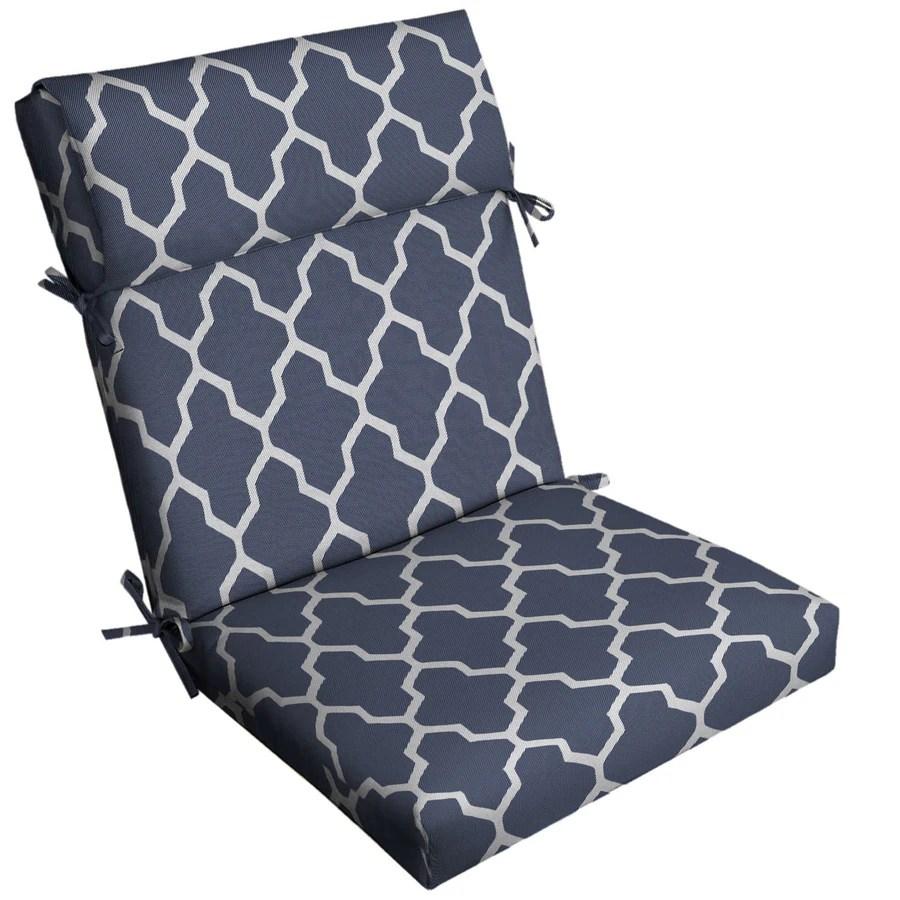 allen roth boston trellis jacquard navy patio chair cushion