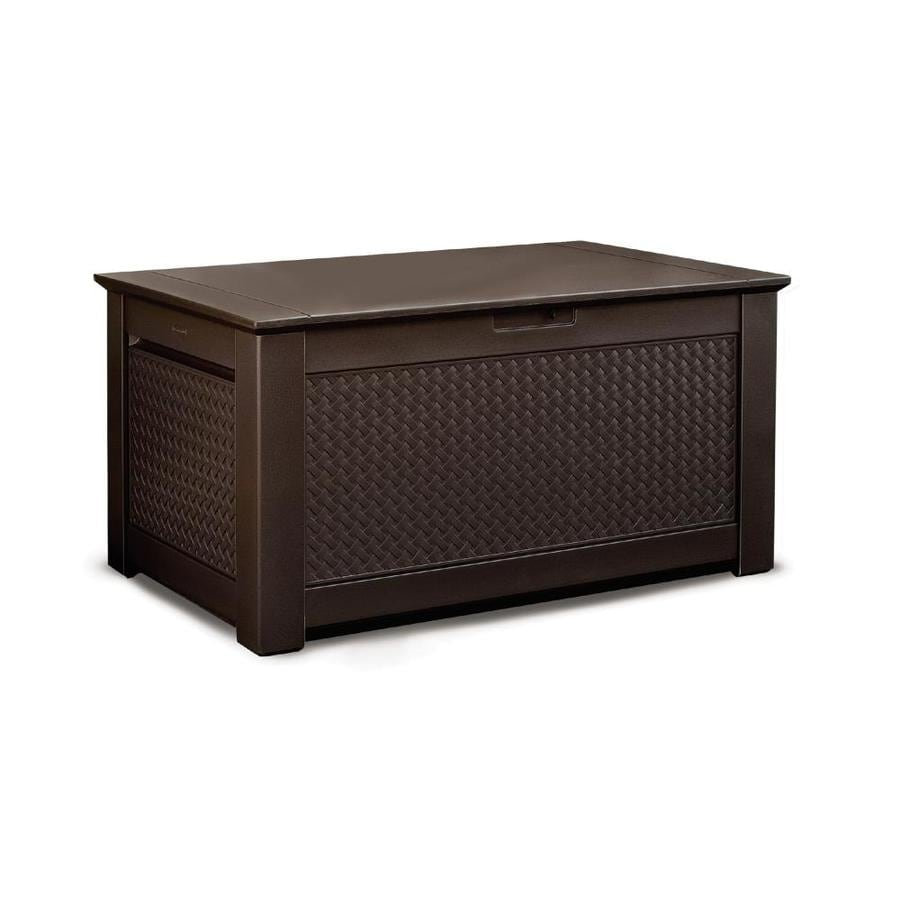 rubbermaid 46 in l x 28 5 in 93 gallon dark basketweave plastic deck box lowes com