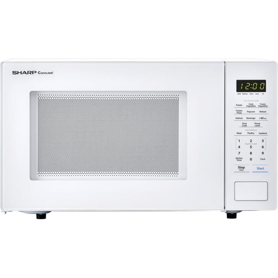 sharp carousel 1 1 cu ft 1000 watt countertop microwave white lowes com