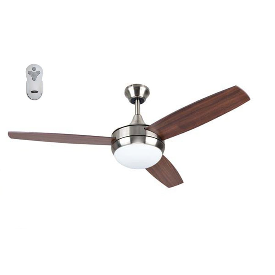 harbor breeze beach creek 52 in brushed nickel led indoor ceiling fan with light and remote 3 blade