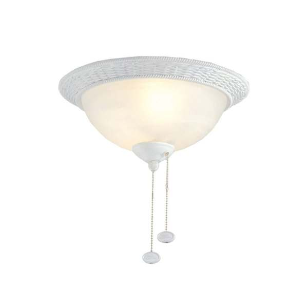 Shop Harbor Breeze 2 Light Matte white Incandescent Ceiling Fan     Harbor Breeze 2 Light Matte white Incandescent Ceiling Fan Light Kit with  Alabaster Glass