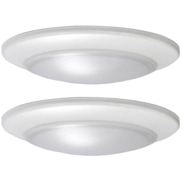 Shop Flush Mount Lights at Lowes com Project Source 2 Pack 7 4 in W White LED Flush Mount Light ENERGY STAR