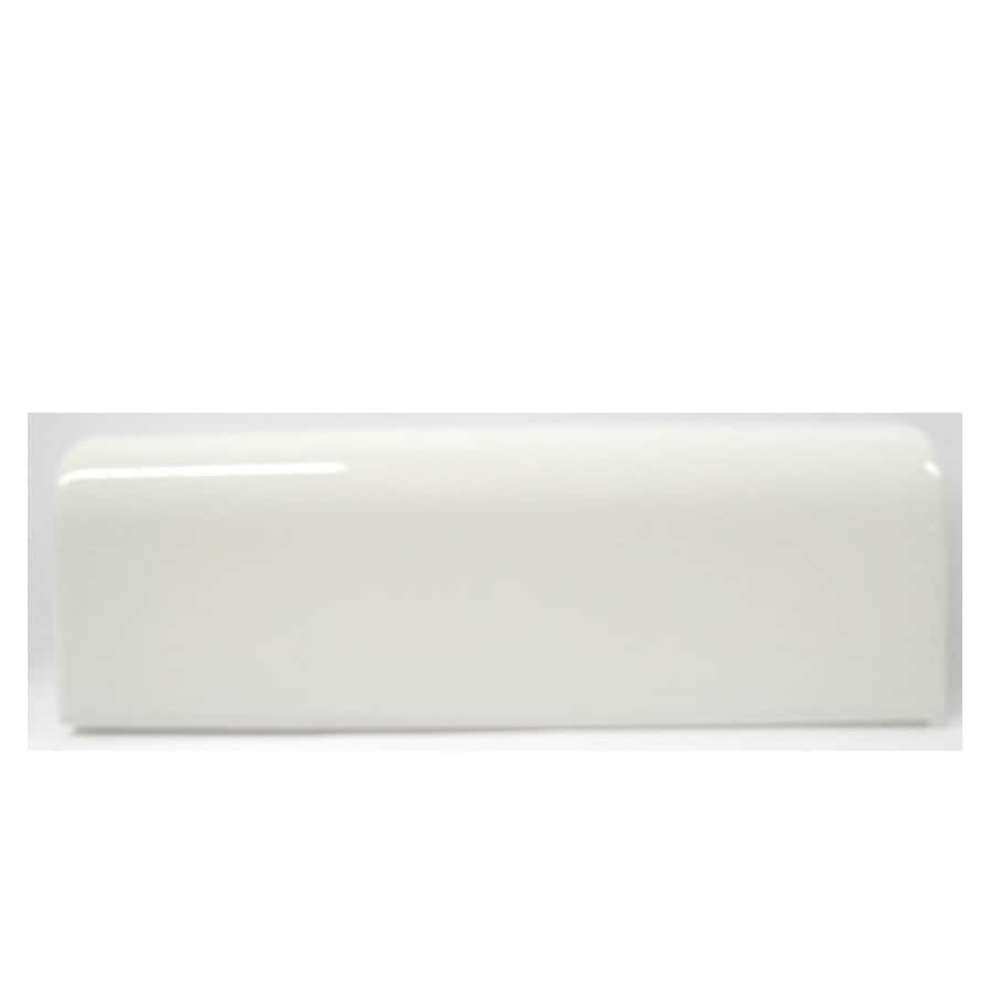 american olean starting line white gloss ceramic mud cap tile 2 in x 6 in lowes com