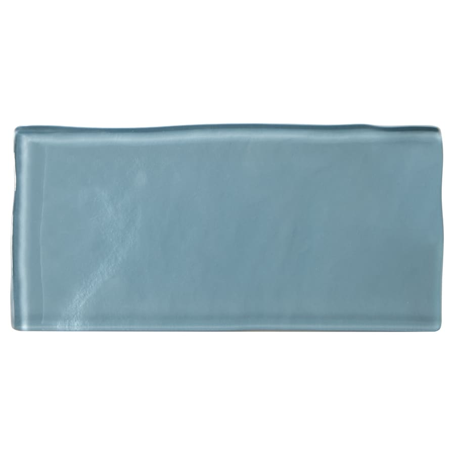 american olean handcrafted blue 3 in x 6 in polished glass subway wall tile