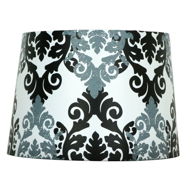 Style Selections 9 In X 13 Black And White Fabric Drum Lamp Shade