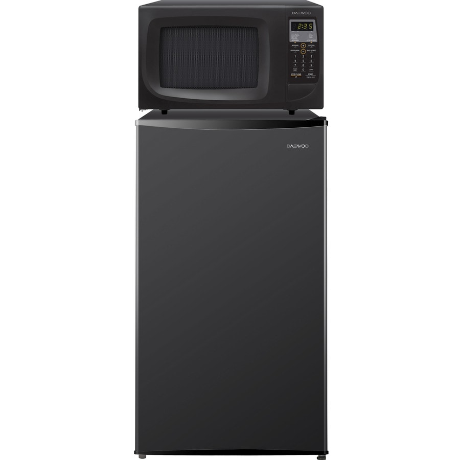 daewoo microwave combo 4 2 cu ft freestanding compact refrigerator with freezer compartment and microwave black energy star