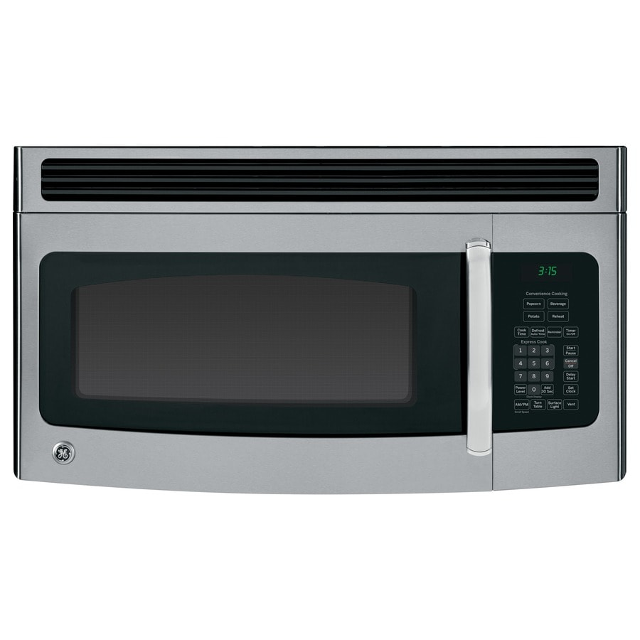ge 1 5 cu ft over the range microwave stainless steel black common 30 in actual 29 87 in