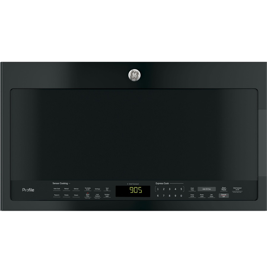 ge profile 2 1 cu ft over the range microwave sensor cooking controls black common 30 in actual 29 9375 in