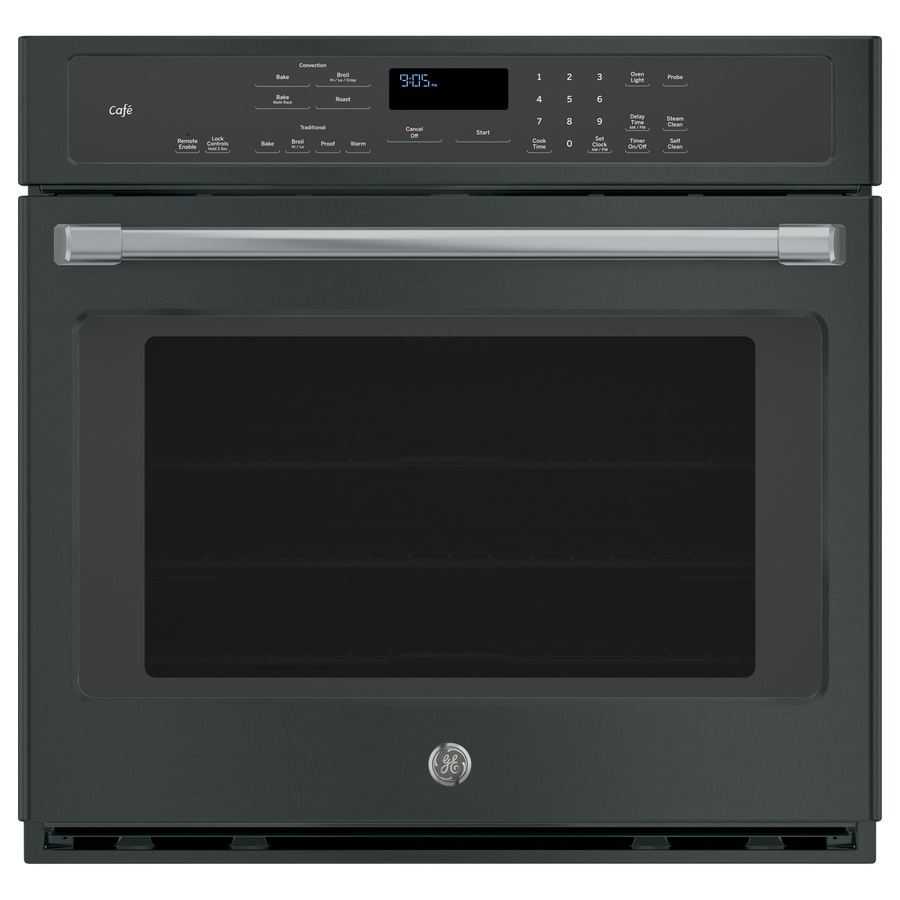 ge cafe 30 in self cleaning convection european element single electric wall oven black slate