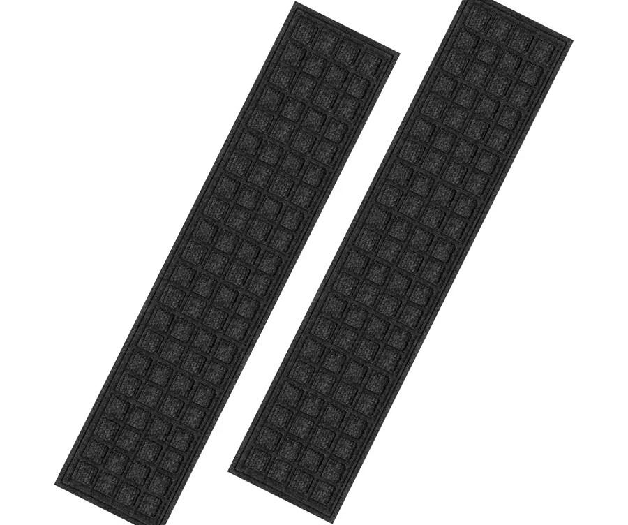 Blue Hawk Black Rectangular Outdoor Stair Tread Mat Actual 9 In | Heavy Duty Stair Carpet | Thick Heavy | Stair Treads Carpet | Double Sided | Wool Carpet | Indoor Outdoor Carpet