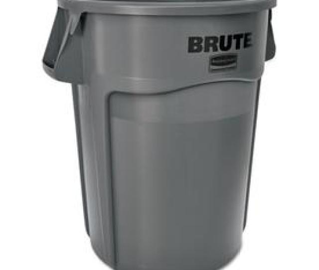 Rubbermaid Commercial Products Brute 55 Gallon Gray Plastic Trash Can