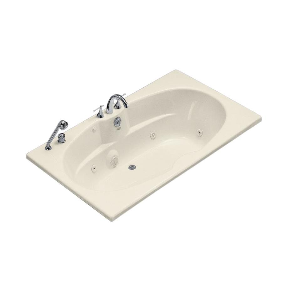 KOHLER 72-in Almond Acrylic Drop-In Whirlpool Tub with Back Center ...
