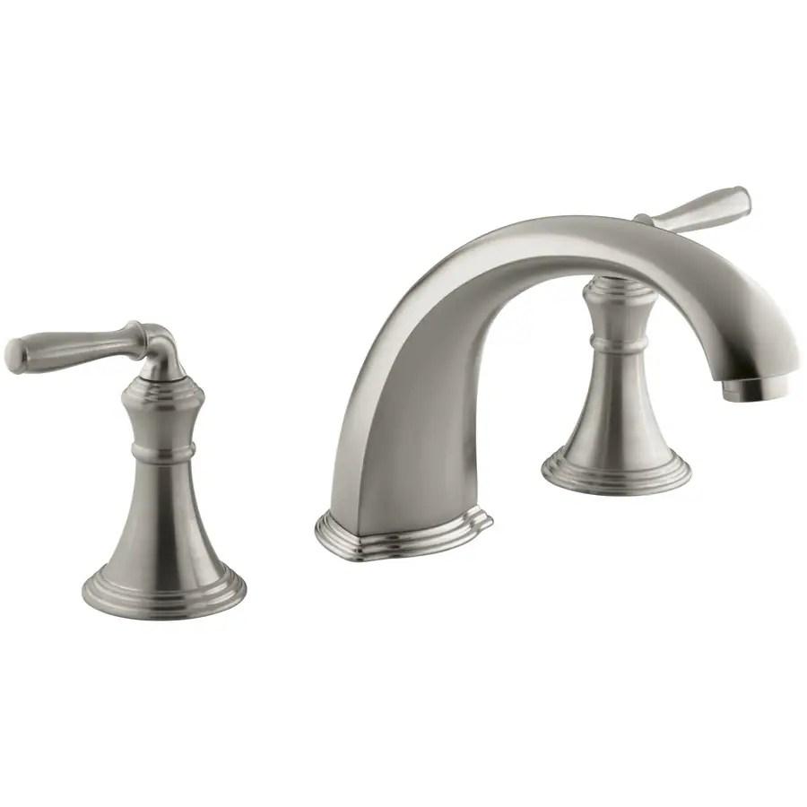 kohler devonshire vibrant brushed nickel 2 handle commercial residential deck mount roman bathtub faucet
