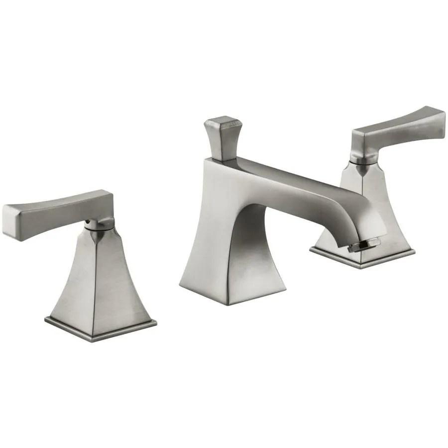 kohler memoirs vibrant brushed nickel 2 handle widespread watersense bathroom sink faucet with drain