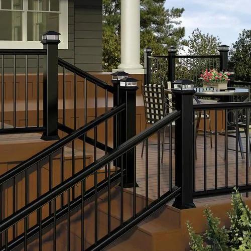 Deckorators Classic Aluminum Matte Black Aluminum Deck Stair Rail | Black Aluminum Stair Railing | Interior | Classic | Simple | Square Metal | Pressure Treated Deck Black