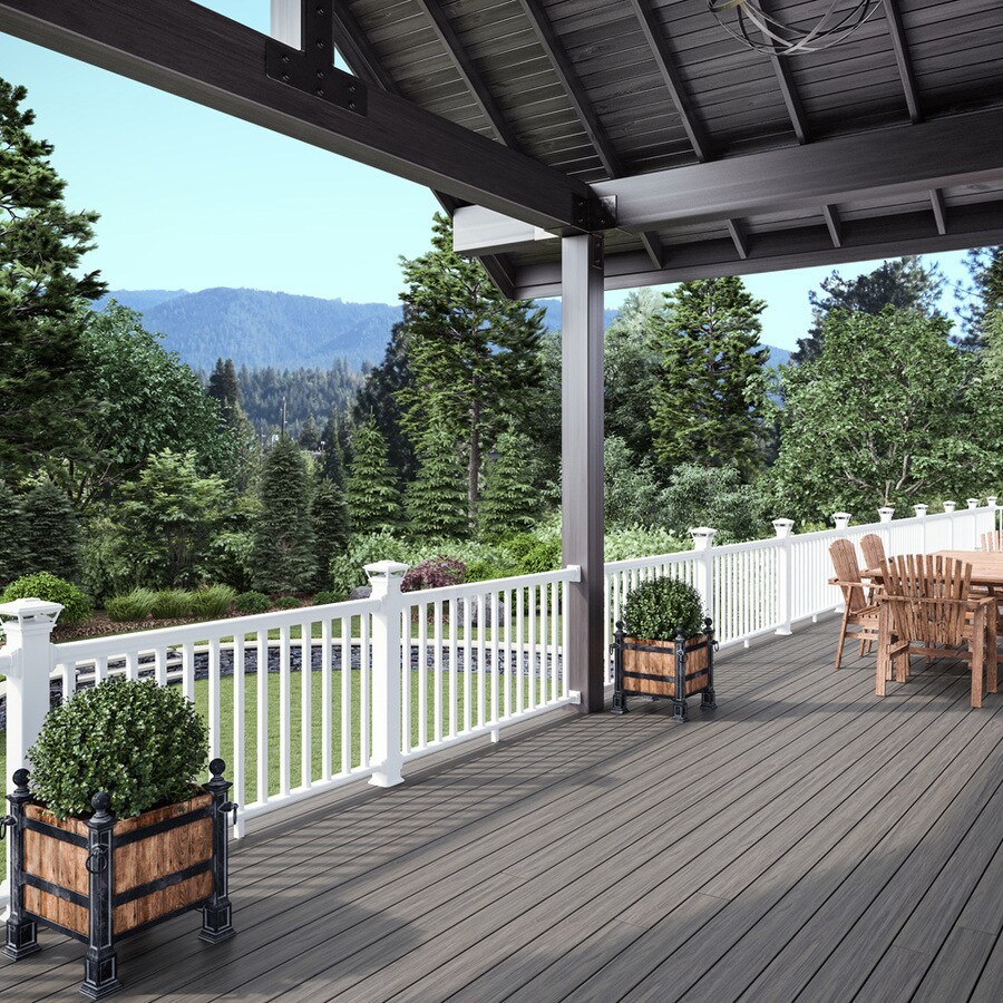 deckorators grab and go 6 ft x 2 75 in x 36 in white composite deck rail kit square balusters included assembly required