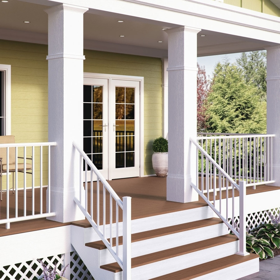 Deckorators Pre Assembled 6 Ft X 2 75 In X 36 In Textured White | Lowes Exterior Stair Railing | Railing Systems | Stair Parts | Stair Treads | Lowes Com | Wrought Iron