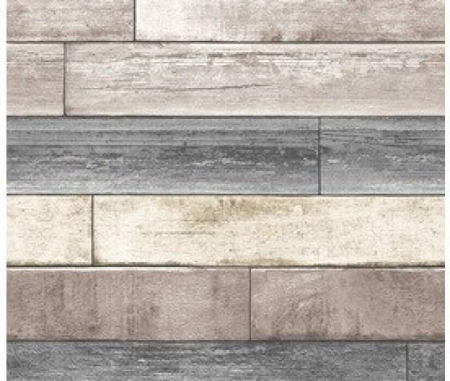 Nuwallpaper   Sq Ft Beige Vinyl Wood Peel And Stick Wallpaper