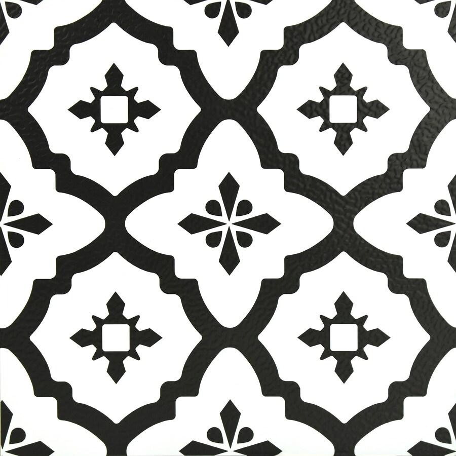floorpops black 12 in x 12 in water resistant peel and stick vinyl tile 20 sq ft lowes com