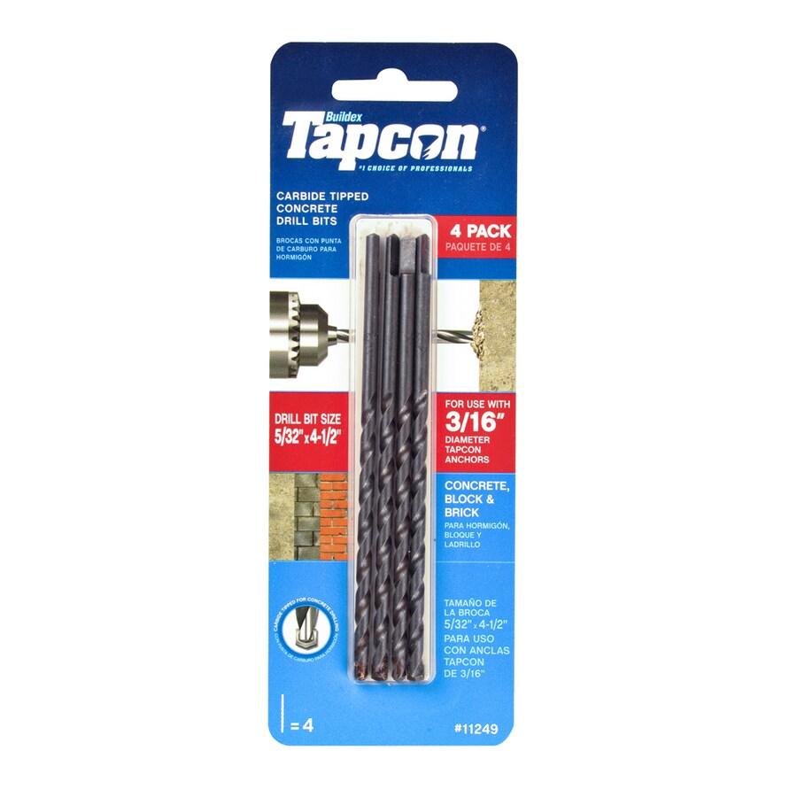 tapcon 4 piece 4 1 2 in carbide masonry drill bit for hammer drill